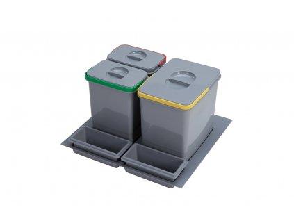 Odpadkový koš Sinks PRACTIKO 600 1x15l+2x7l