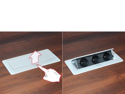 Výklopná zásuvka BOX 3x 230V s 3m kabelem - hliník