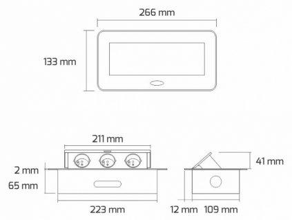Výklopná zásuvka BOX 3x 230V s 3m kabelem - černá