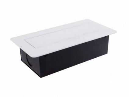 Výklopná zásuvka BOX 2x 230V a 2x USB nabíječka s 3m kabelem - bílá