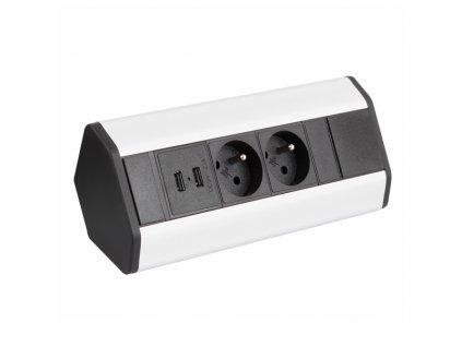 Zásuvková lišta rohová CORNER 2x 230V 2x USB nabíječka hliník/černá