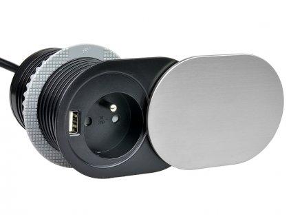 Vestavná zásuvka SLIDE 1x 230V a 1x USB nabíječka nerez