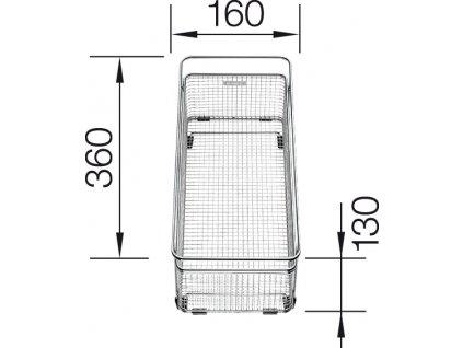 Koš na nádobí nerez SUBLINE 360x160x130