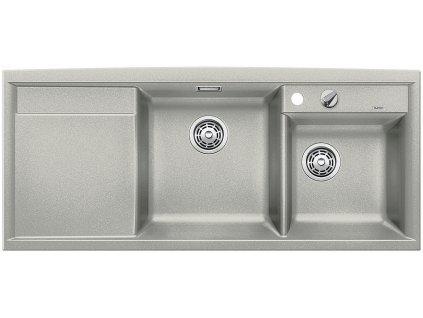 Granitový dřez Blanco AXIA II 8 S Silgranit perlově šedá  dřez vpravo s excentrem 520535