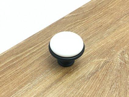nabytkova knopka blanc cerna bila keramika