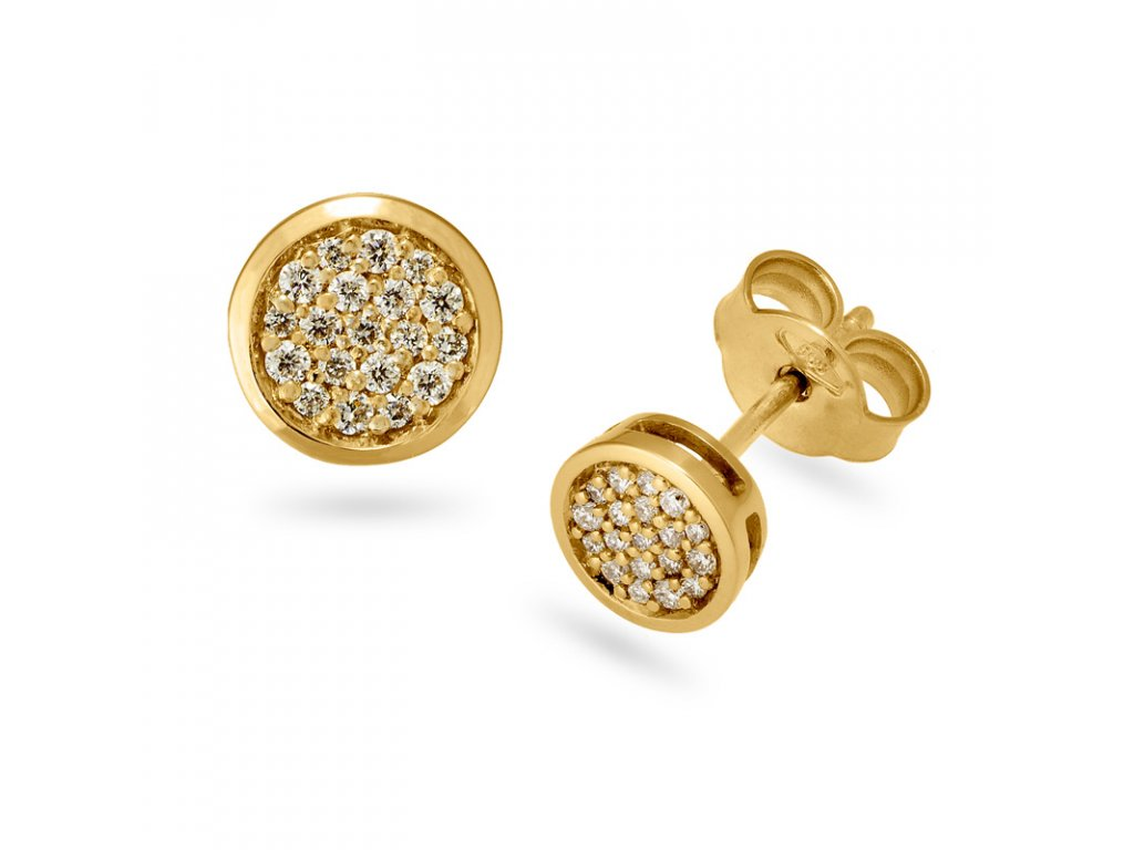 Diamond Dot Pave YG Earrings