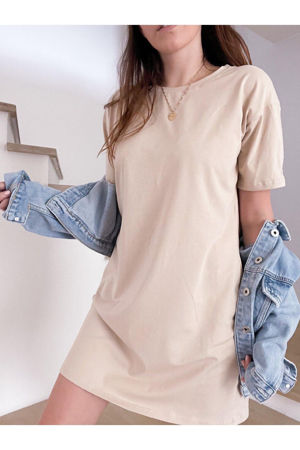 Tričkové krátké šaty Hello lorii! Krémové
