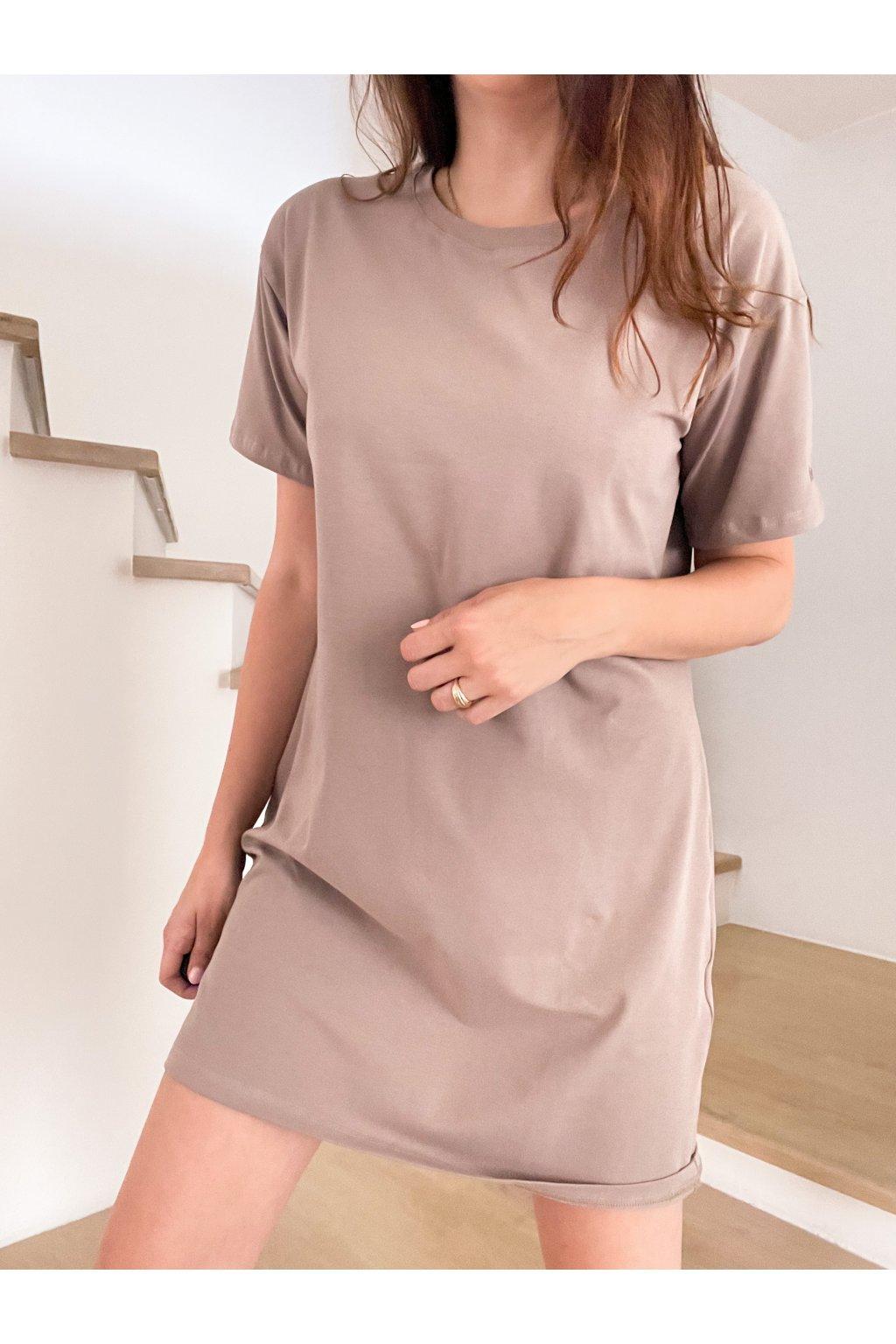 Tričkové krátké šaty Hello lorii! Mocca