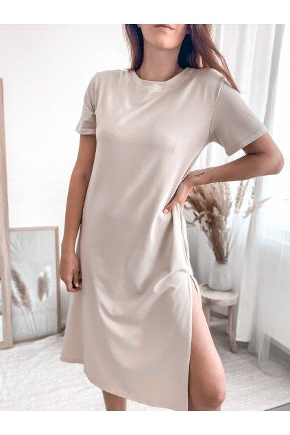 Tričkové dlouhé šaty Hello lorii! Krémové