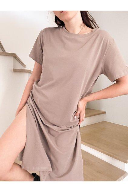Tričkové dlouhé šaty Hello lorii! Mocca