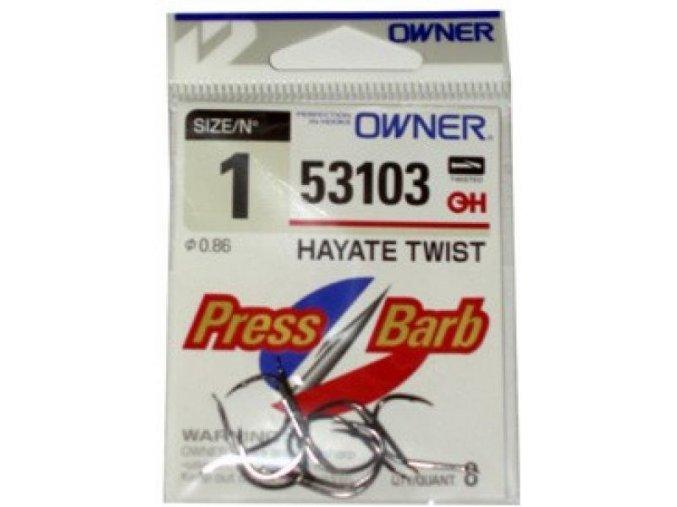 rybářské háčky Owner 53103 Hyate Twist s lopatkou + press barb