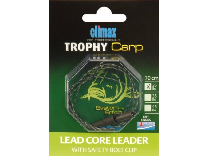Climax Trophy Carp Lead Core Leader with Safety Bolt Clip