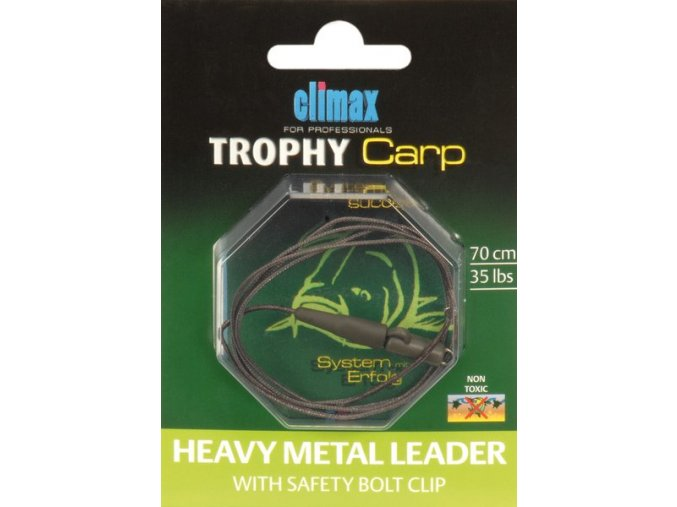 Climax Trophy Carp Heavy Metal Leader with Safety Bolt Clip