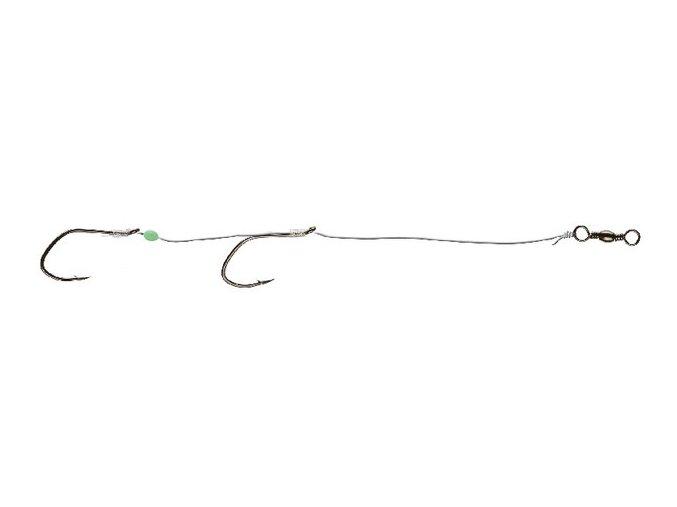 Systém se dvěma háčky na lov na živou rybku