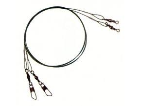 Ocelové lanko se smyčkou, karabinkou a obratlíkem