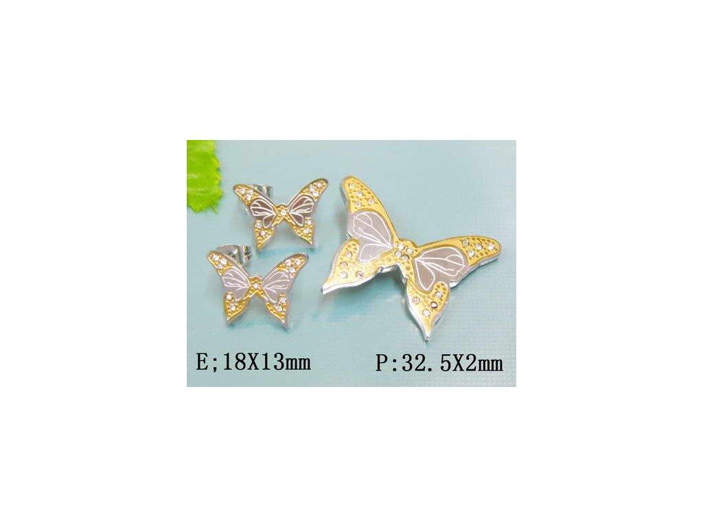 SE3146ZGOC - Motýliky - oceľový set so zirkónmi - Lotka.sk fa538e83ac0