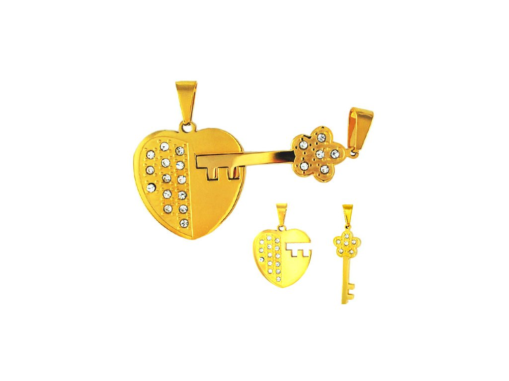 PV3300ZGOC Srdce a kľúč prívesky pre zamilovaných - Lotka.sk 3a6b98acd34