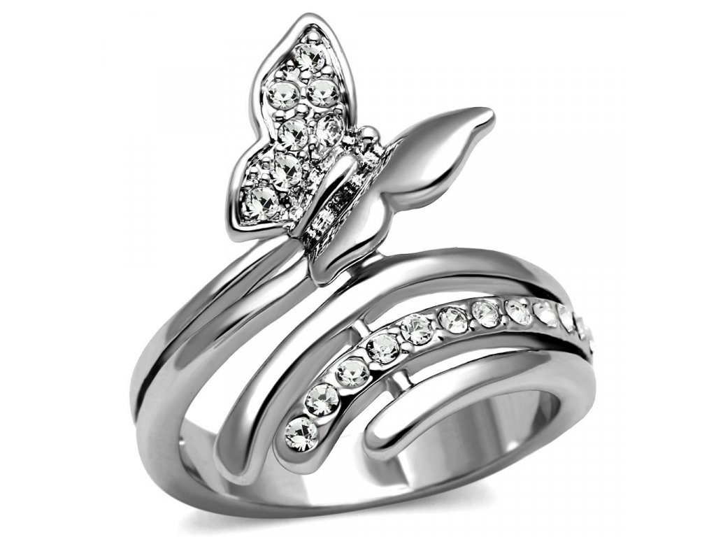 PR8093ZOC Motýlik prsteň z chirurgickej ocele so zirkónmi - Lotka.sk 0fae7e2bea3