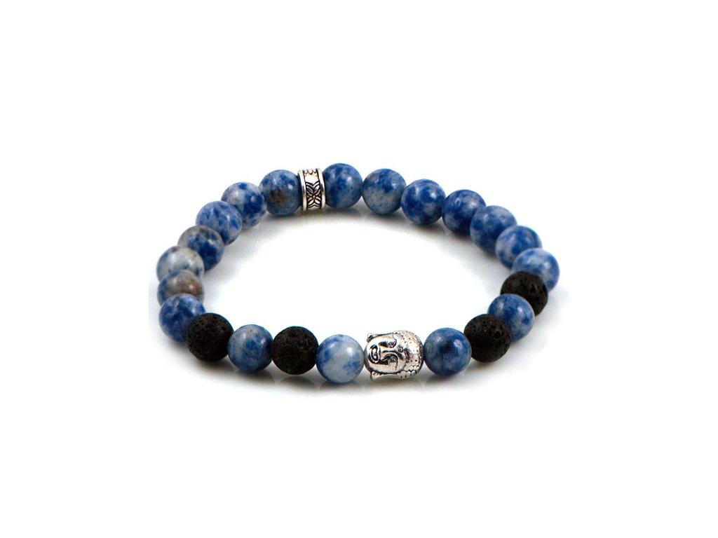 0e2f89782 NRB0007 Buddha náramok s modrým kameňom a lávovým kameňom - Lotka.sk