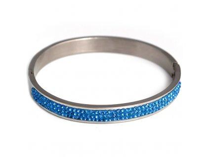 NR3071OC naramok z chirurgickej ocele s modrymi kristalmi