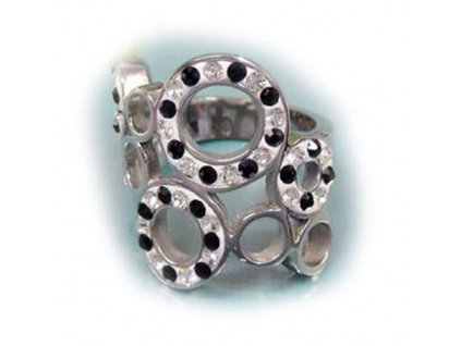 PR1249ZOC prsten z chirurgickej ocele so zirkonmi