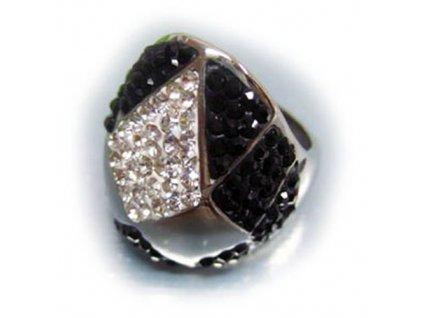 PR1250ZC prsten z chirurgickej ocele cierne zirkony
