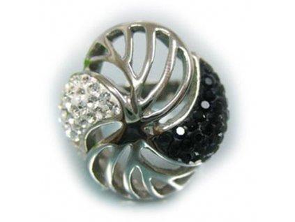 PR1256ZOC prsten z ocele kristaly