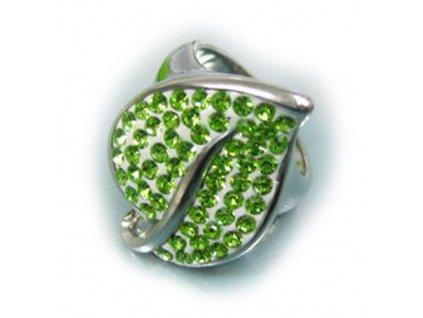 PR1257ZOC prsten z chirurgickej ocele zeleny kristalovy