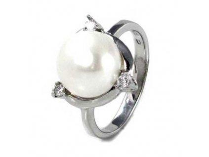 PR4388ZSSP strieborny prsten s perlou zirkonmi