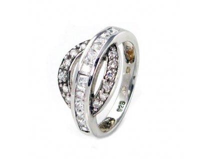 PR4389ZSS strieborny prsten so zirkonmi