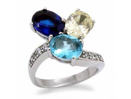 PR1326ZOC modry prsten z chirurgickej ocele zirkony
