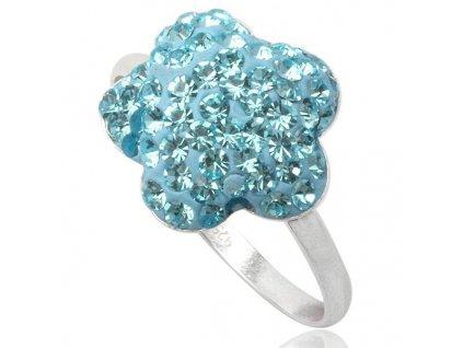 PR4419SWSS strieborny prsten swarovski modry kvet