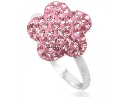 PR4420SWSS ruzovy swarovski kvet strieborny prsten