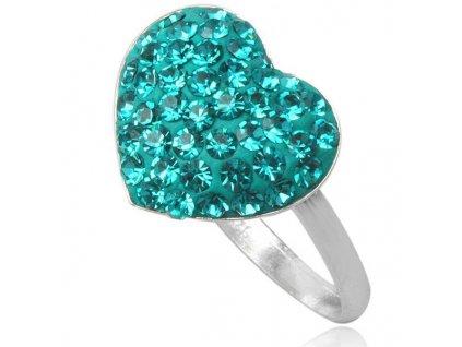 PR4425SWSSstrieborny prsten tmavozelene srdce