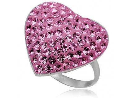PR4441SWSS swarovski ruzove srdce strieborny prsten