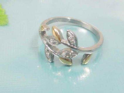PR1366ZGOC - Lístočky - prsteň z chirurgickej ocele