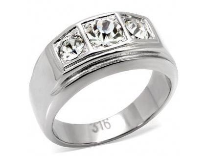 PR6037SWOC - Pánsky oceľový prsteň so Swarovski krištálmi