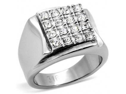 PR6038SWOC - Pánsky oceľový prsteň so Swarovski krištálmi