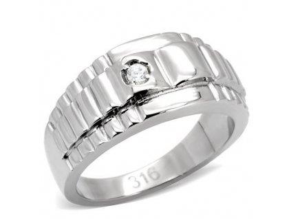 PR6039ZOC - Pánsky oceľový prsteň so zirkónmi