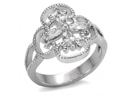 PR6044ZOC - Kvietok s ornamentom - oceľový prsteň so zirkónmi