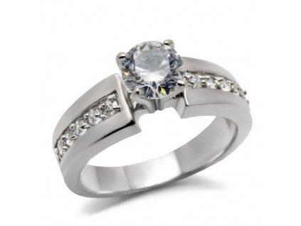 PR6047ZOC - Oceľový prsteň so zirkónmi