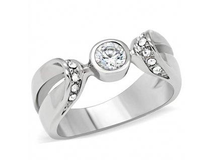 PR6051ZOC - Oceľový prsteň so zirkónmi
