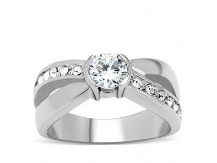 PR6057ZOC - Oceľový prsteň so zirkónmi