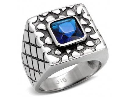PR6064ZOC - Pánsky oceľový prsteň so zirkónom