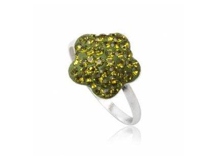 PR4535SWSS - Zelený kvietok - strieborný prsteň so Swarovski krištálmi