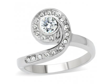 PR6070ZOC - Oceľový prsteň so zirkónmi