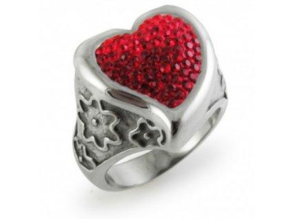 PR6072SWOC - Srdiečko - oceľový prsteň so Swarovski krištálmi
