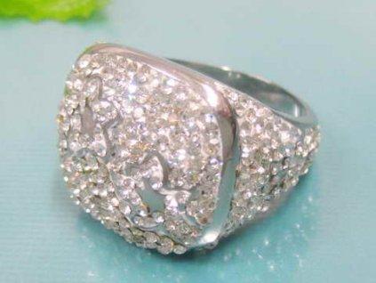 PR6075ZOC Oceľový prsteň so zirkónmi