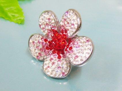 PR6076ZOC Kvet - oceľový prsteň so zirkónmi