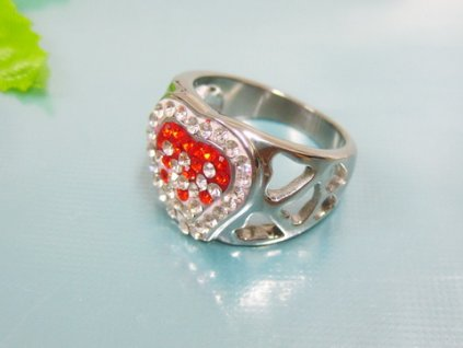 PR6079ZOC Srdce - Oceľový prsteň so zirkónmi